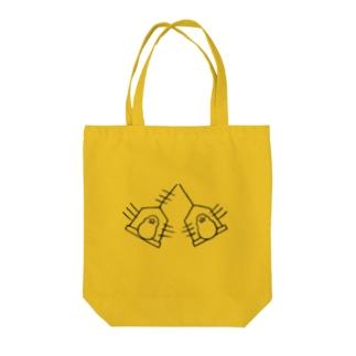 subacoのぶんぶん文鳥(黒線) Tote bags