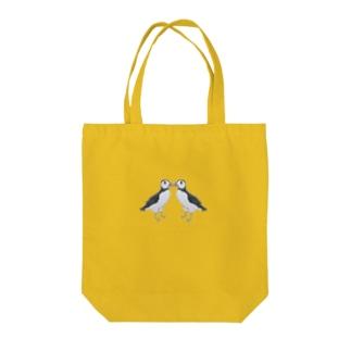 ニシツノメドリ/パフィン 求婚 Tote bags
