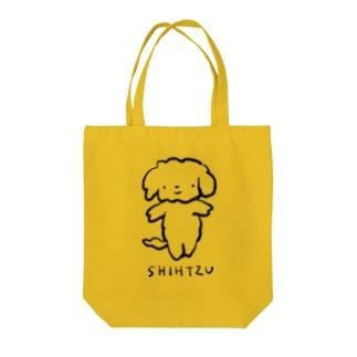 シーズーさん(黒) Tote bags