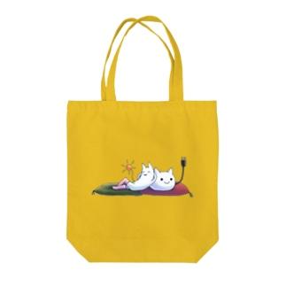 ねこさんとニーソネコ座布団 Tote bags