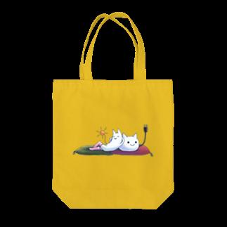 ねこさん爆発ショップのねこさんとニーソネコ座布団 Tote bags