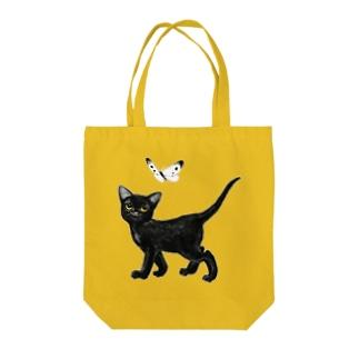 黒猫と紋白 Tote bags