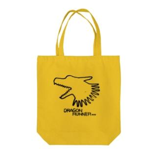 俊足の龍の布かばん・黒 Tote bags