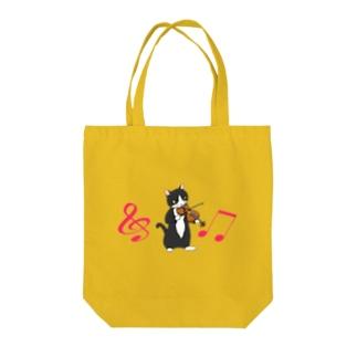 バイオリンを弾く猫(音符付き) Tote bags