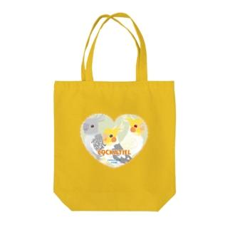 ハート型オカメインコ Tote bags