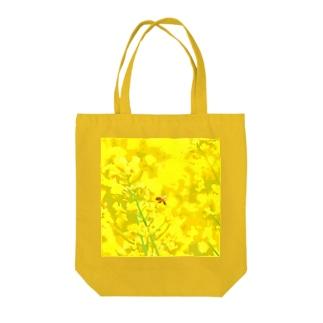 菜の花とミツバチ Tote bags