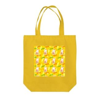 もぐもぐうさぎ オレンジ Tote bags
