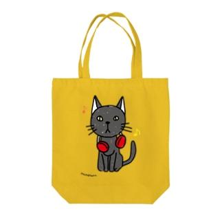 黒猫と音楽 Tote bags