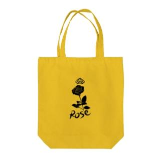 ローズ(ブラック) Tote bags