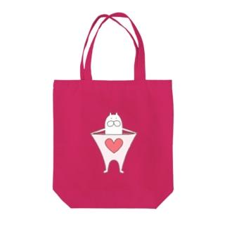 ねこタイツのハートピンク Tote bags