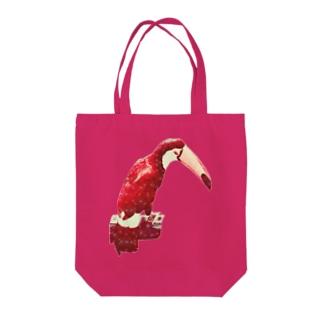 白い花柄の赤いオニオオハシ トートバッグ