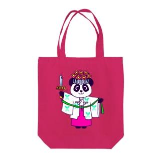 Tako&Negi SUZURI支店のパンダ巫女 舞姿 Tote bags