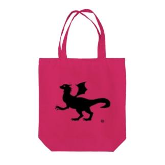 有翼の龍の布かばん・黒 Tote bags