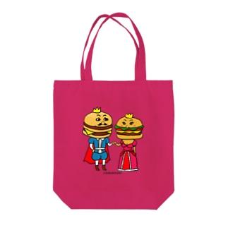 ハンバーガーカップル Tote bags