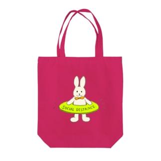 うさぎソーシャルディスタンス Tote bags