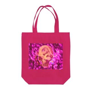 月光装身具ロゴコミカルスカルピンク Tote bags