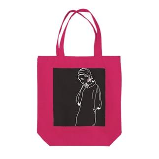 大振りピアスのショートヘア Tote Bag