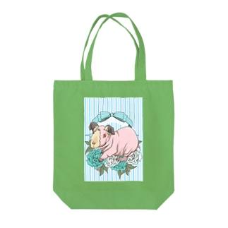 レジメンタルストライプ×モルモット 水色 Tote bags