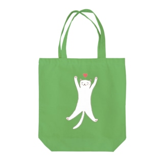 STRETCHING CAT Tote bags