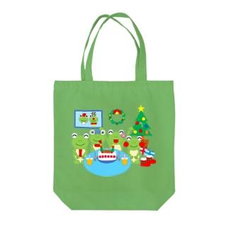 クリスマスパーティのかえるさん Tote bags