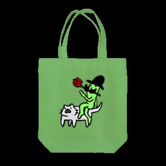 しごにゃんショップの猫に乗ったみどりいろ紳士(薔薇) Tote bags