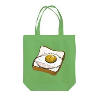 ハムエッグのせ Tote bags