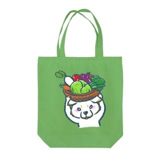 菜食主義な柴犬(白柴) Tote bags