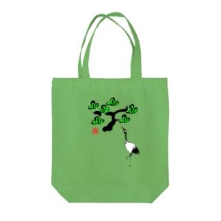 松と鶴 墨絵風Tシャツ Tote bags