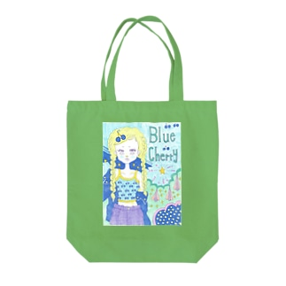 Blue cherry Tote bags