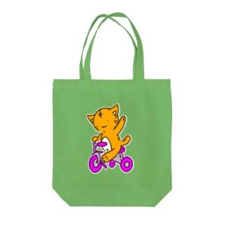茶トラさん三輪車に乗る Tote bags