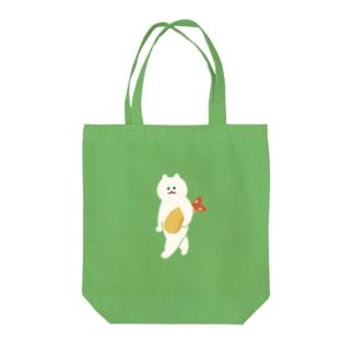 エビフライをさわやかに持ち運ぶ猫 Tote bags