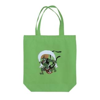 手描き風神バッグ Tote bags
