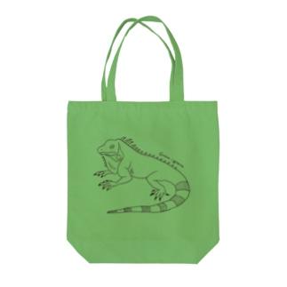 グリーンイグアナ (線画) Tote bags