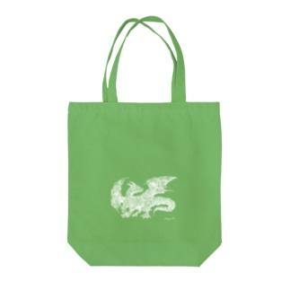 ドラゴン 白 Tote bags