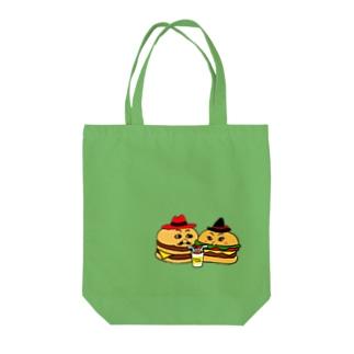 ハンバーガーカップル シェイク Tote bags