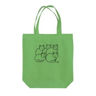 hk_illustrationのねこちゃん5ひき黒ライン Tote bags