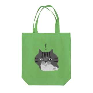 何かを見つけたもふもふグレーしま猫 (淡色用) Tote bags