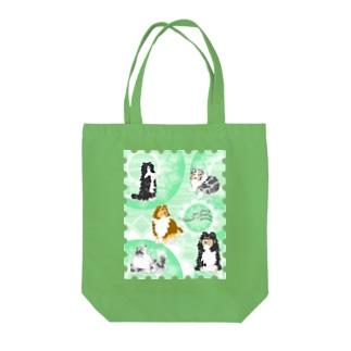 Five colors of Shetland Sheepdogs.~Mint green~ Tote bags