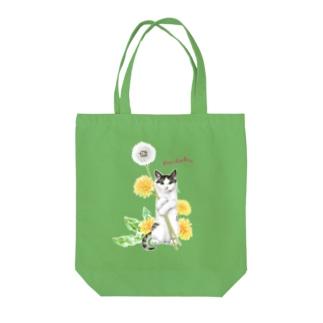 タンポポとサバトラ子猫② Tote Bag