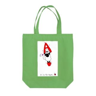 アルファベット A 羊 りんご Tote bags