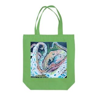 人魚とたこくん Tote bags