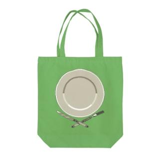 皿のドット絵 Tote bags