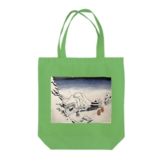 Art of Buddhism and Shintoism and Two Paths in the snow Tote bags