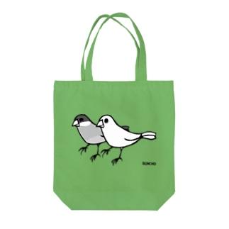 桜と白の文鳥 トートバッグ