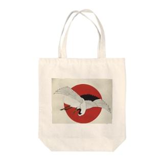 日の出に鶴 Tote bags