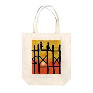 JUNSEN(純仙)夕日の桟橋 Tote bags