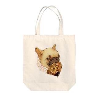 フレンチ×ブルドッグ Tote bags