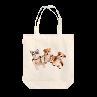 Handmade by Caranfeeのワンワンワン Tote bags