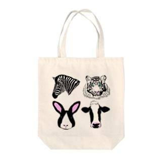 モノクロ動物集結 Tote bags