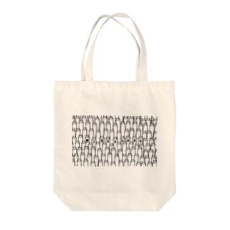 長い猫集団 Tote bags